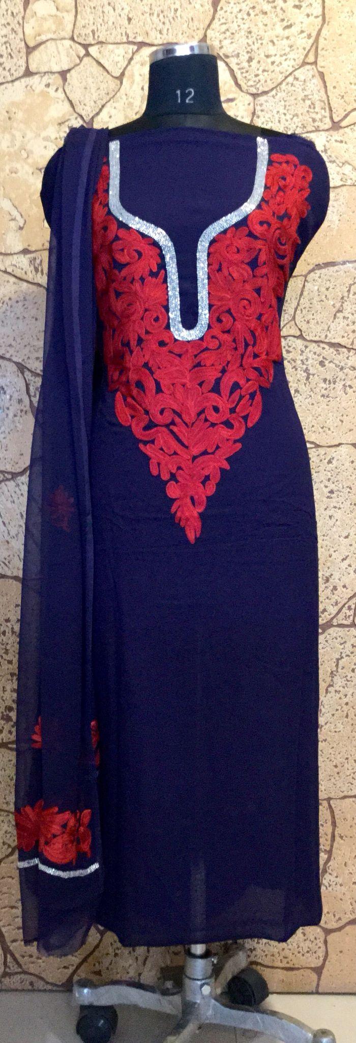 Navy blue Kashmiri Suit with red colour embroidery. #Kashmiri #suit #indian #wear #fashionable #embroidered #fashion #india #dress #suit #salwarKameez #designer #women