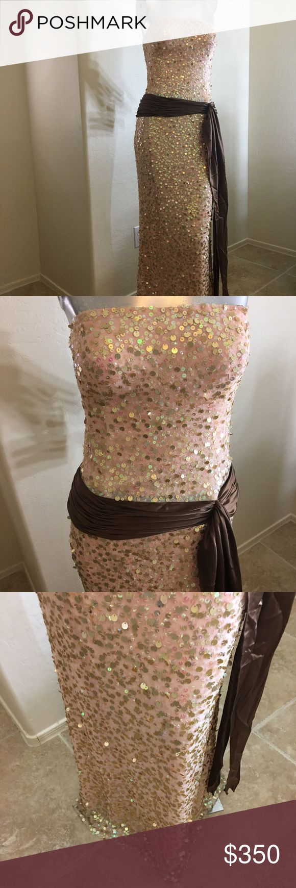 Jovani Prom/Evening/Bridal Excellent condition 12 This is a beautiful Jovani gown in excellent condition. Wore once for prom. 👄 Original cost $500.00. All sequins are attached no missing pieces. No rips or tears. Size 12. If you need additional information just ask! Thanks for stopping by...👑 Jovani Dresses Prom
