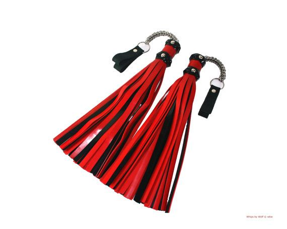 Poi finger floggers pair Patent Leather BDSM toy  by WhipsbyWolf