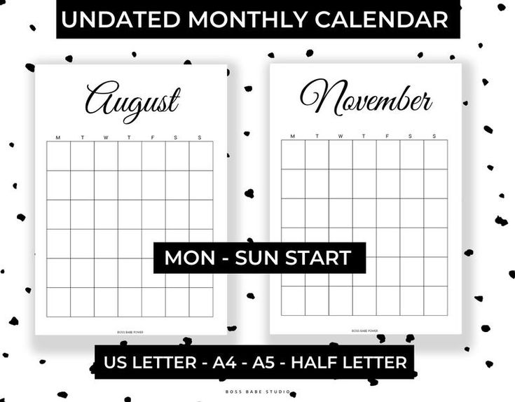 Printable Undated Monthly Calendar US Letter A4 A5 Half ...