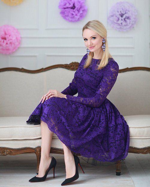 Платье Мишель фиолетовое кружево