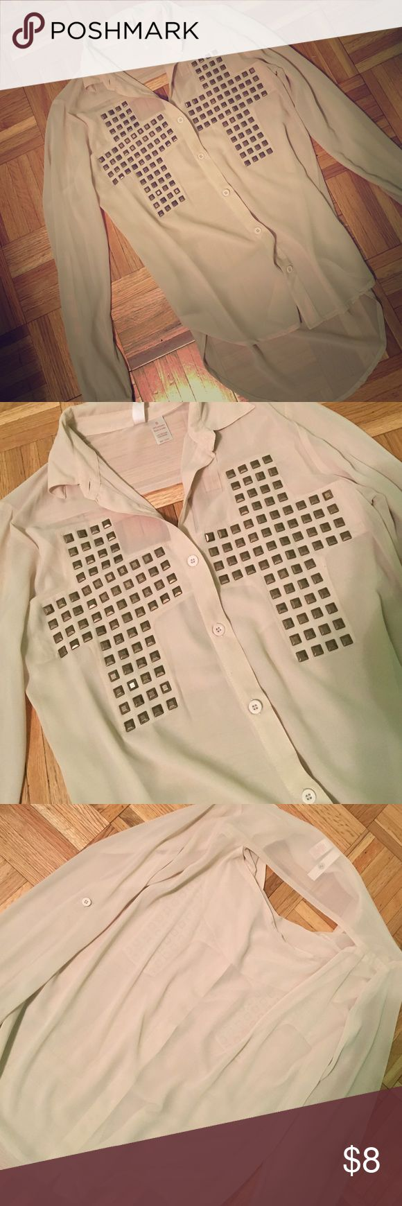 Cross beige button down shirt Never worn. Beige long sleeve button down with two crosses detailed in the front. Back has an opening on the upper back as pictured. A little see through so might need to wear a tank underneath. Buttons on sleeves. Tops Button Down Shirts