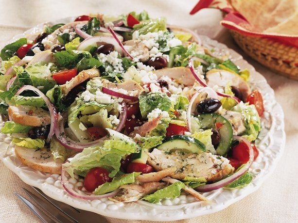 Greek Chicken Salad - super-convenient deli rotisserie chicken helps make this Mediterranean salad medley. Yum!