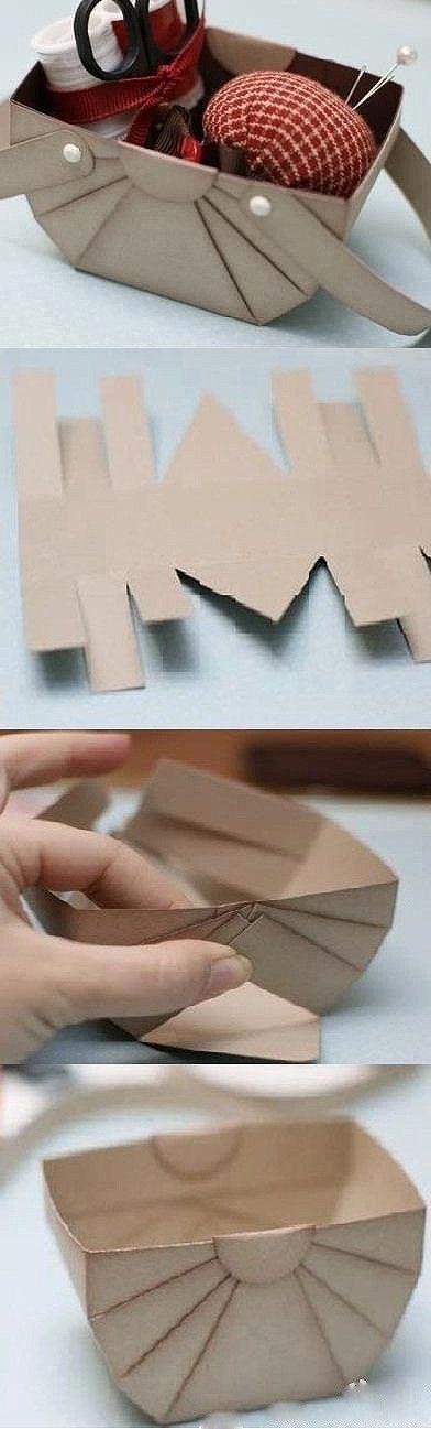 手工DIY 靓图 实用 折纸 废物利用 很棒的簡易紙提籃DIY
