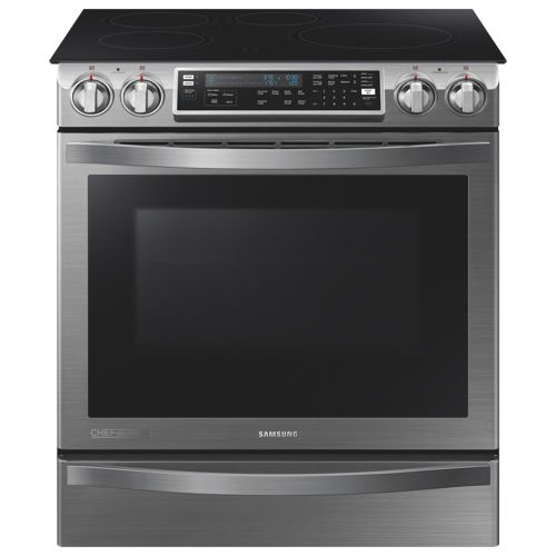 "Samsung 30"" 5.8 Cu.Ft. Self-Clean 4-Element Slide-In Smooth Top Induction Range -Stainless Steel"