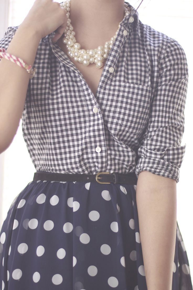 checkers, polka dots, and pearlsGingham, Polka Dots, Mixing Patterns, Style, Pearls, Outfit, Pattern Mixed, Mixed Prints, Mixed Pattern