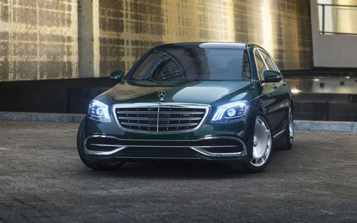 Download wallpapers Mercedes-Benz Maybach S600, 2018 cars, headlights, luxury cars, Maybach, Mercedes