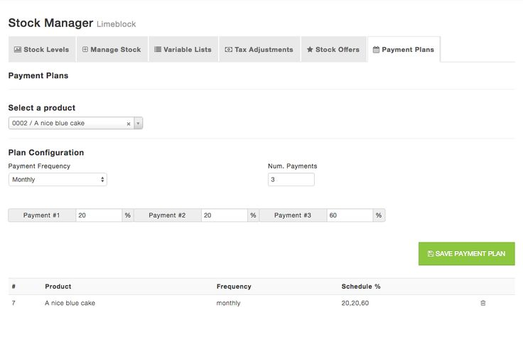Payment Plans Offer your customers flexible payment plans for paying for their goods on your ecommerce website. Configure weekly, monthly and quarterly payments on stock items, when customers checkout they choose a plan and everything is automatically calculated based on your plan configuration, invoices are recurring and managed with one order number.
