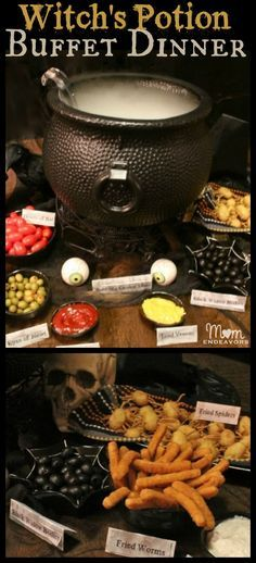 """Witch's Potion Halloween Buffet Dinner, complete with lots of easy """"spooky food"""" ideas via momendeavors.com #Halloween"""