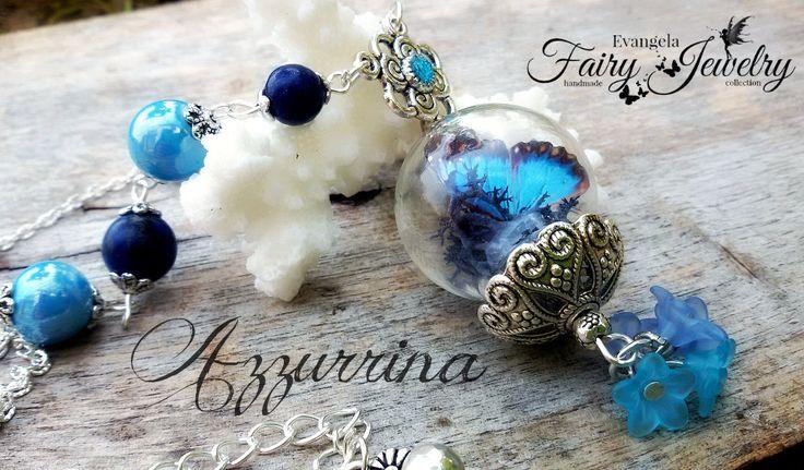 Collana terrario farfalla realistica 3d ceramica e lapislazzuli azzurro, by Evangela Fairy Jewelry, 18,00 € su misshobby.com