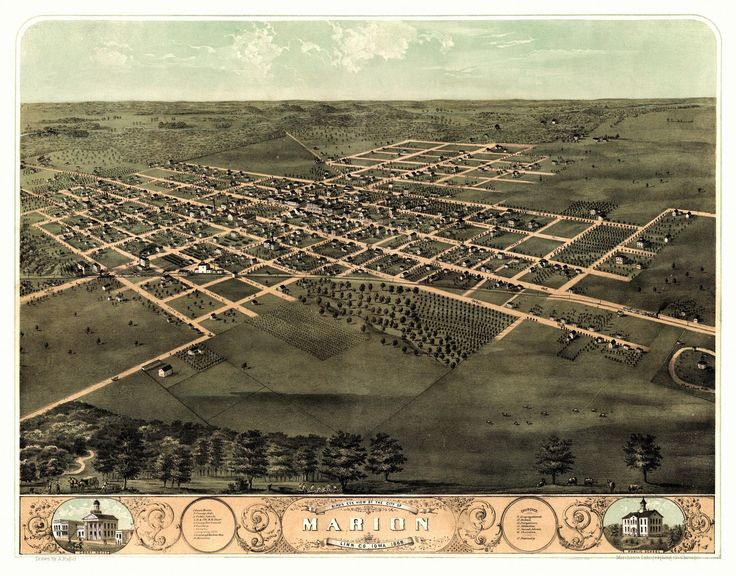 Historic Map of Marion Iowa 1868 Linn County Poster