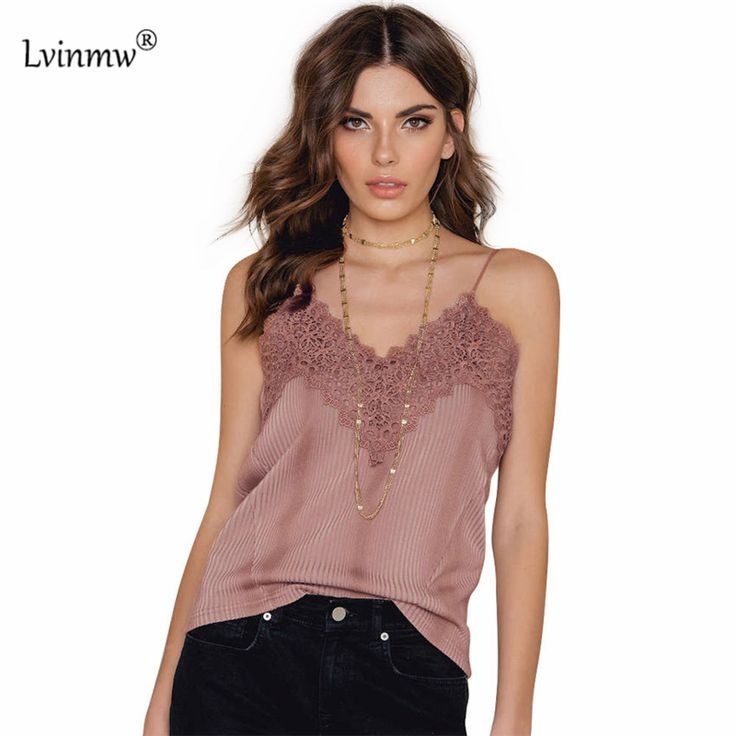 Lvinmw Pink/Black Tank Top Women Spaghetti Strap Sexy Tops For Womens 2017 Summer Lace V-Neck Camisole Top Female Clothes