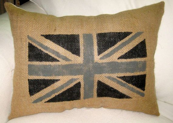 Painted Union Jack British Burlap Pillow, Shabby Chic Neutral Cushion, London Decor, Restoration ...