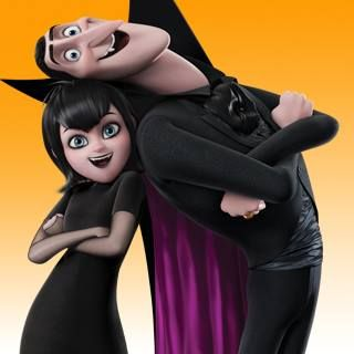 A cute picture of Mavis and Dracula Dad from Hotel Transylvania.