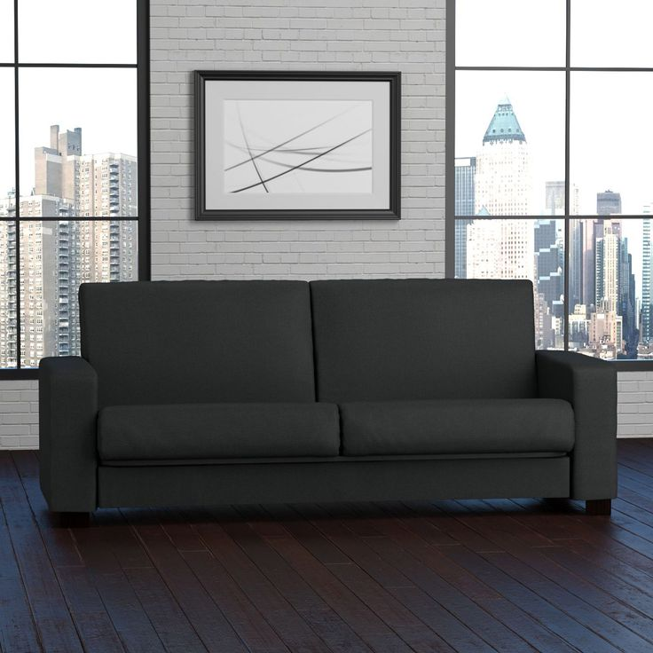 The transitional Portfolio Tempo Convert-a-Couch sofa features an extra-wide squared arm and is covered in a durable, easy clean, linen-like midnight black fabric. Make room for an unexpected guest or