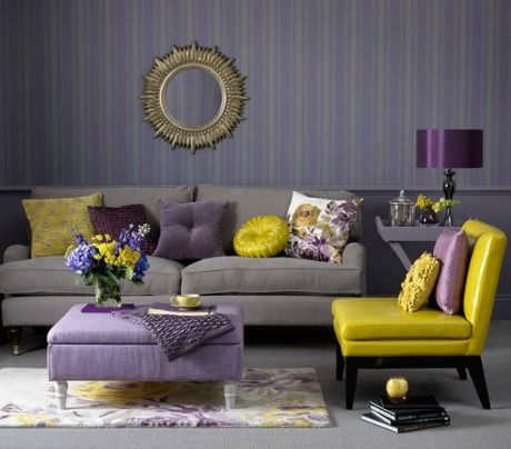 Grey Walls Lilac Sofa Yellow Cushions