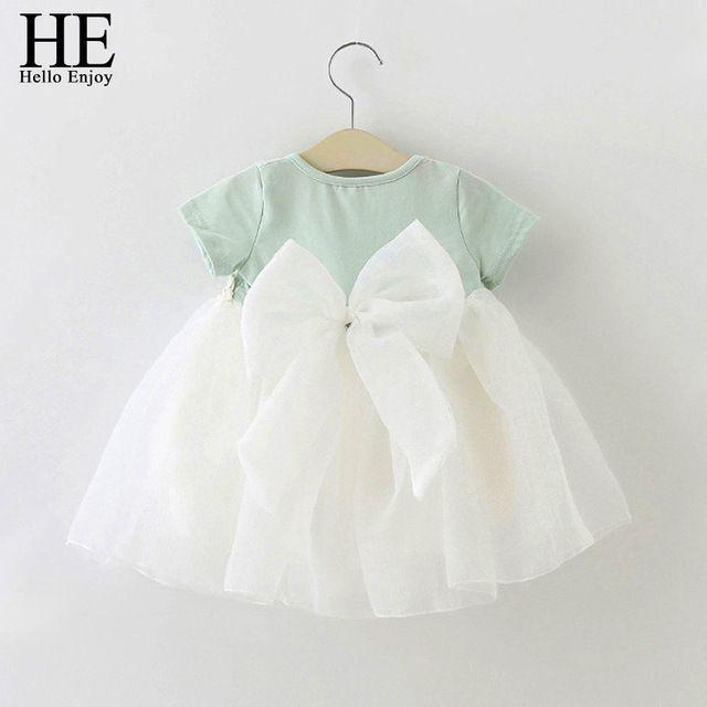 ELE Olá Desfrutar Do Bebê Vestido Da Menina de aniversário 1 anos vestido de renda batismo infantil vestido infantil bowknot princesa do vestido de casamento