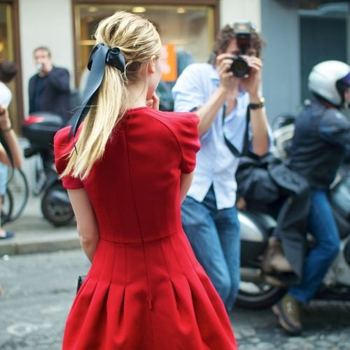 red dress + simple hair bow... magical!