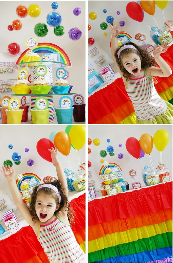 Rainbow party printables. Love the hanging plastic balls filled with rainbow tissue. Great idea!