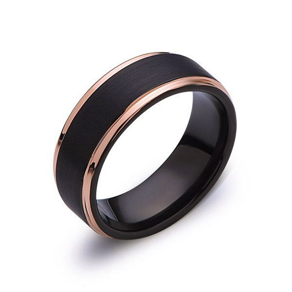 Black Tungsten Wedding Band - Black Brushed Ring - Rose Gold - 8mm Ring - Engagment Band - Comfor Fit