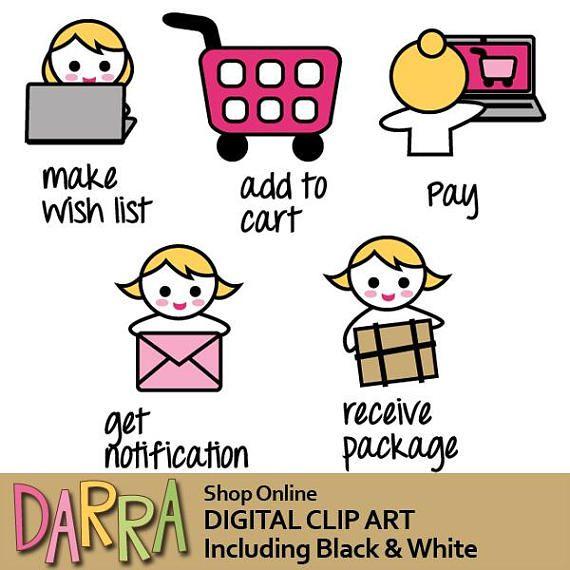 Planner icon clipart / planner girl emoti clip art / shop