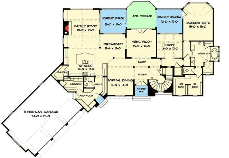 Two Story 5 Bedroom Tudor Mansion Floor Plan Mansion Floor Plan Floor Plans House Floor Plans