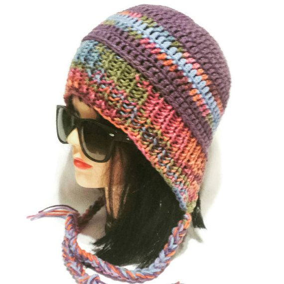 Check out this item in my Etsy shop https://www.etsy.com/ca/listing/482786103/women-earflap-hat-knit-slouchy-beanie