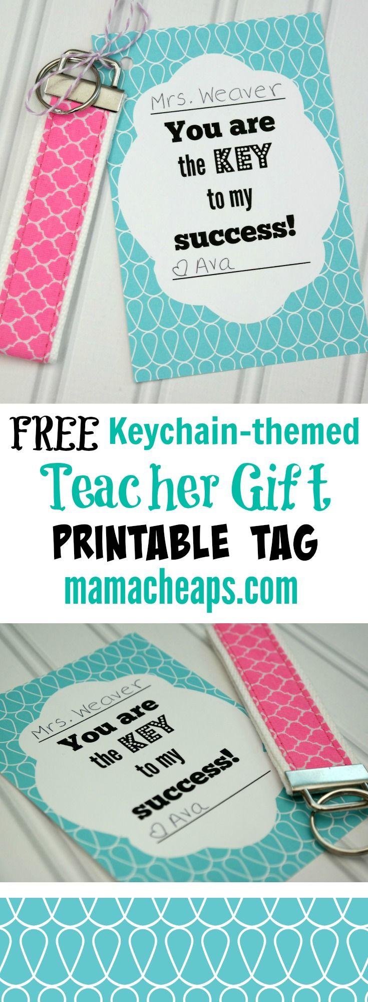 """Key to My Success"" Keychain Teacher Appreciation Gift + FREE Printable Tag"