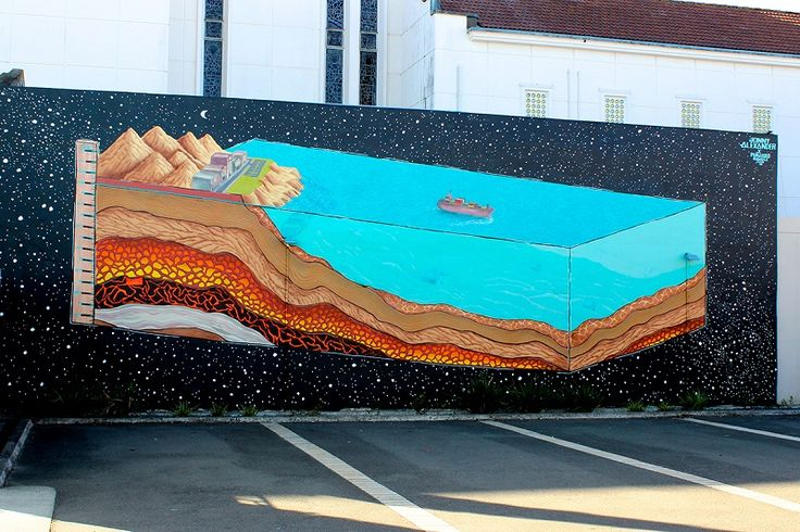 Mural addressing coastal development, level sea rise, featuring lonely whale, by Jonny Alexander.
