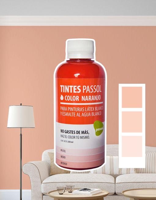 Tinte Passol Naranjo para mezclar con pinturas LÁTEX y ESMALTE al agua de Passol.
