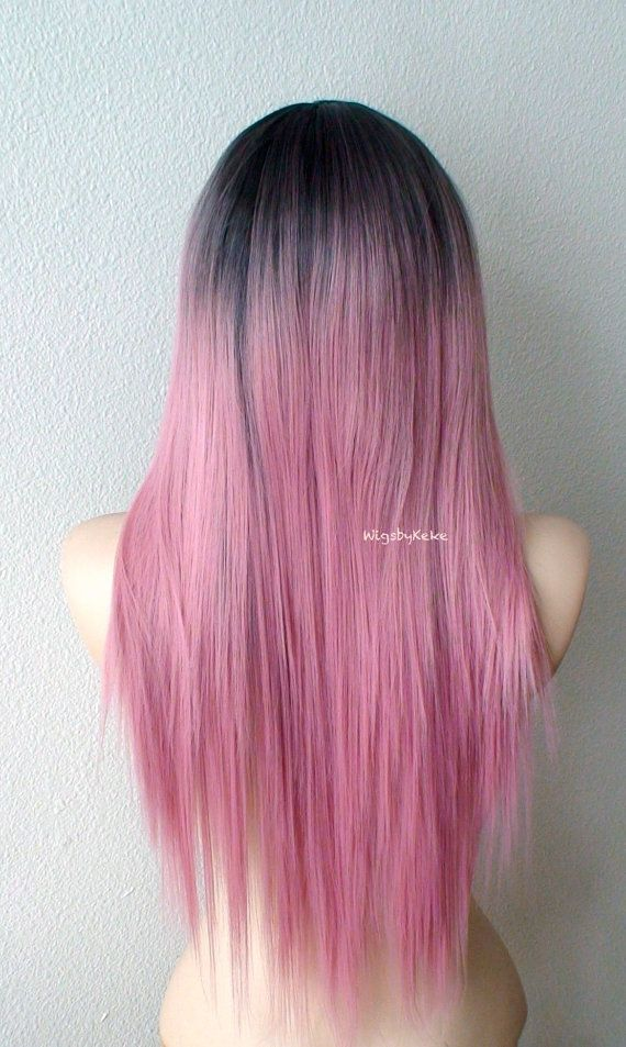 Pastell Perücke. Dunkle Wurzeln Blush rosa Perücke. von kekeshop