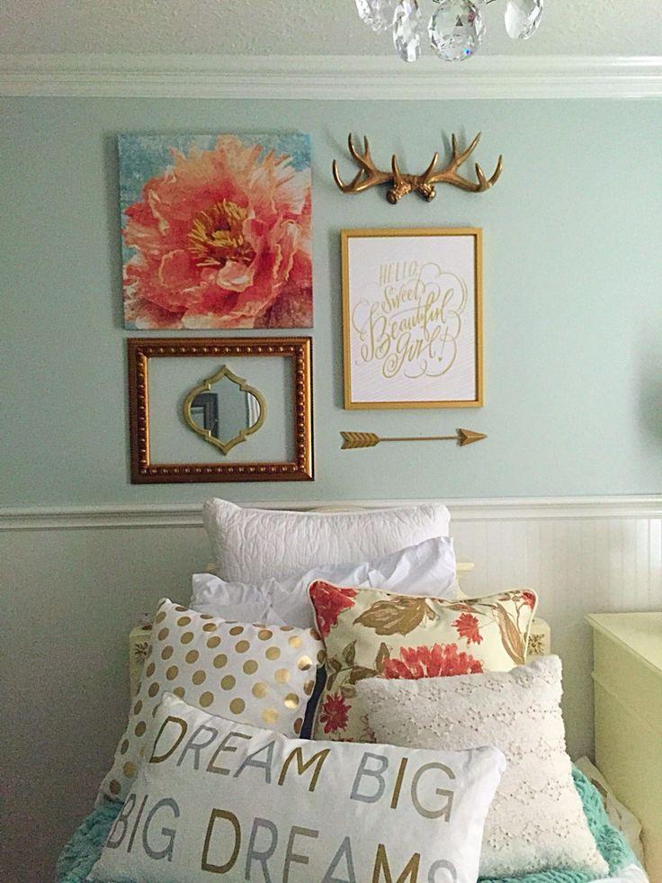 Girls bedroom, mint, coral, blush, metallic gold, white