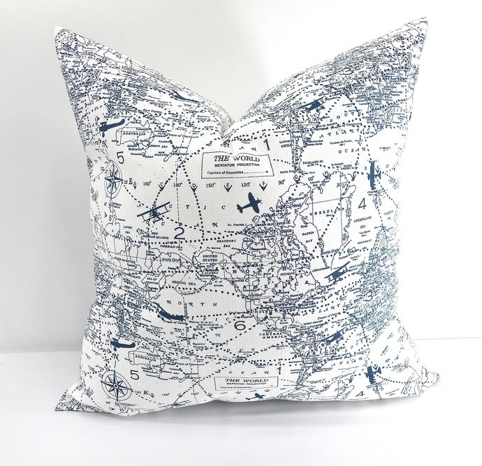 Blue and white Map Pillow cover. Air Traffic Map Print  Sofa Pillow cover. Map…