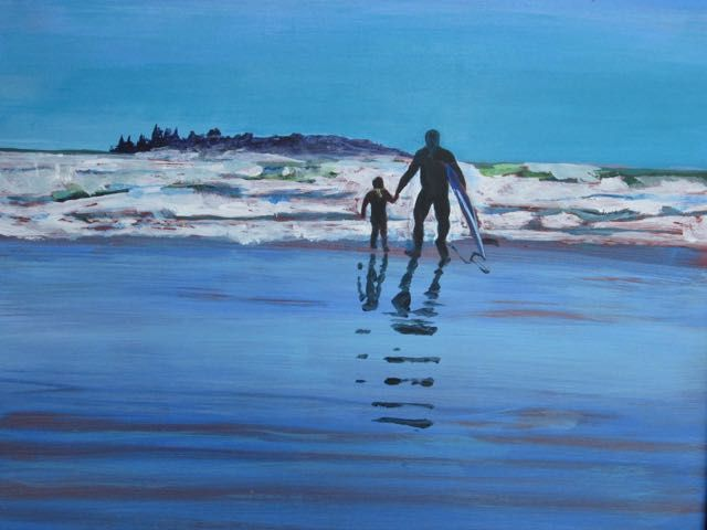 Dad and Daughter surf team.  Acrylic.  Bob McQueen