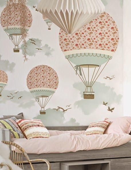 little hands: Little Hands Wallpaper Mural - Balloon Ride III