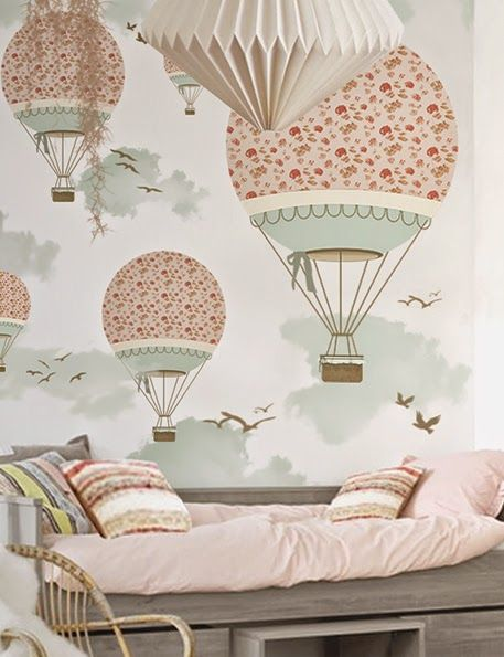 little hands: Little Hands Wallpaper Mural - Balloon Ride III