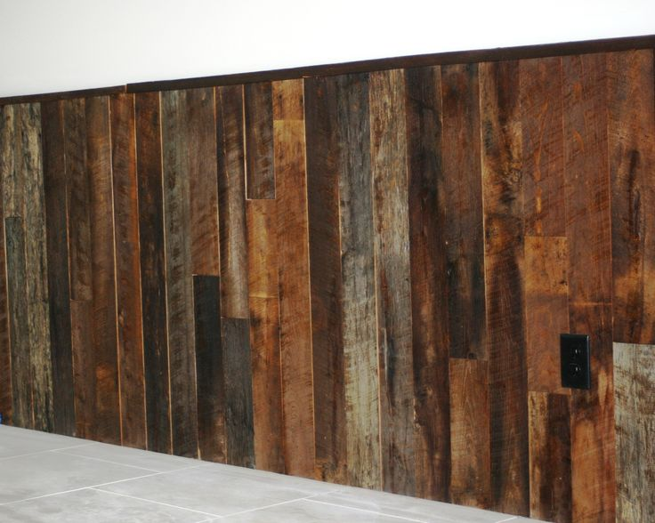 Reclaimed wood wainscot. Note - for reference only. Wood to be more gray/less red and running horizontal
