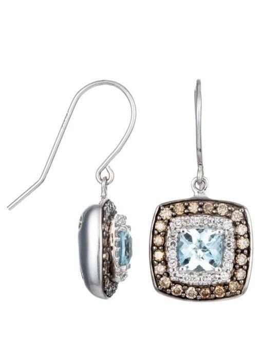 Aquamarine & Chocolate Diamond Earrings ♥