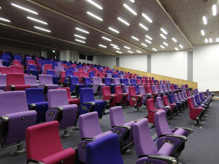 The Alumni Auditorium is so called because the development of it has involved the engagement of Exeter's alumni.  Individual seats have been funded by members of the alumni and name plates have been attached accordingly.  The seats include both electric power points and usb points and can swivel in order for users to turn around and converse with the people behind them.  This is particuarly useful for interactive elements to lectures where discussion is encouraged.