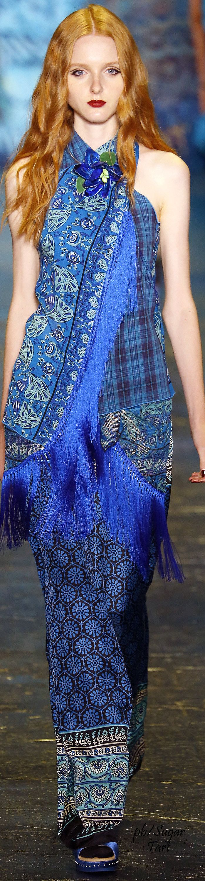 Anna Sui ~ Spring Blue Multi Print Maxi Dress 2016 RTW NYC Hair Salons www.jeffreysteinsalons.com