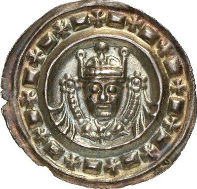 AR Pfennig (Bracteate). Germany Coins, Ulm, Royal mint. Friedrich II. 1215-1250. Circa 1235. 0,40g. Berger 2596. Good EF. Starting price 2011: 600 USD. Unsold.