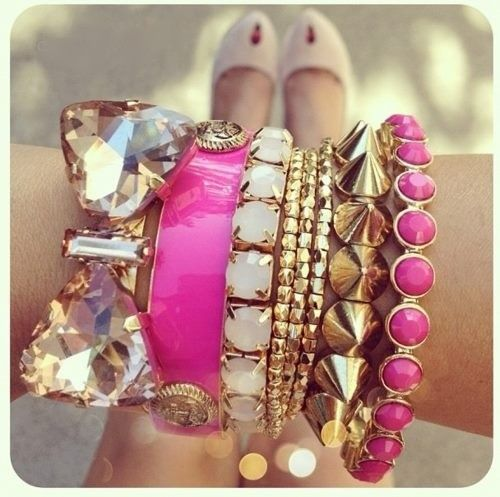 love itStacked Bracelets, Gold Arm Candy, Arm Party, Gold Bracelets, Hot Pink, Bows Bracelets, Arm Candies, Arm Parties, Bling Bling