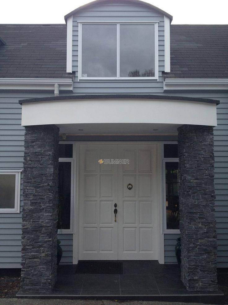 Charcoal schist pillars - nice colour for driveway pillars
