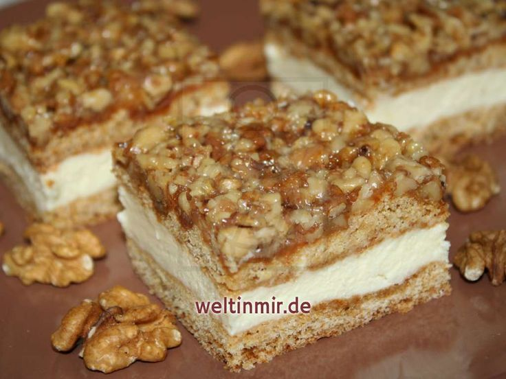 Honigschnitte mit Walnussgrillage • Rezept   weltinmir.de