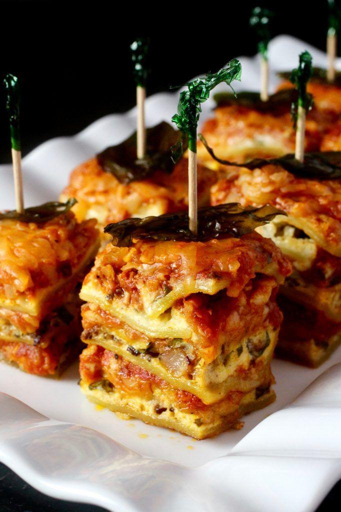 Summer Squash Lasagna Bites with Fried Basil #glutenfree #summersquash #summersoiree
