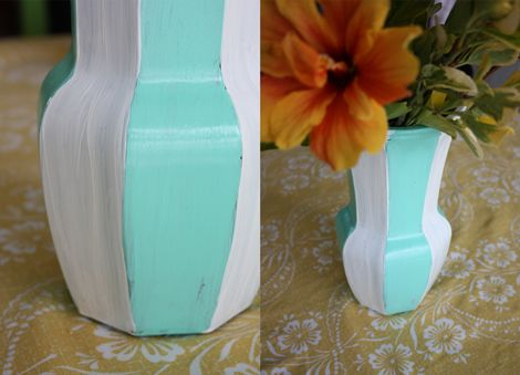 painted with martha stewart glass paint: Decor Projects, Martha Stewart, Glass Vase, Stewart Glass, Glass Paint