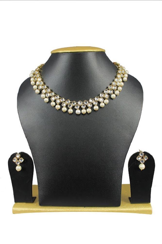 Ethnic Indian Ebay Gold Plated White Pearls Party Wear Necklace Jewelry Set #natural_gems15 #GoldPlated