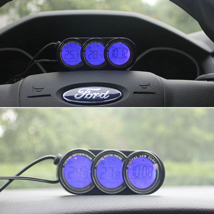 Car Lcd Vehicle Auto Inside Outside Digital Clock Temperature Thermometer Gauge Cool Ideas
