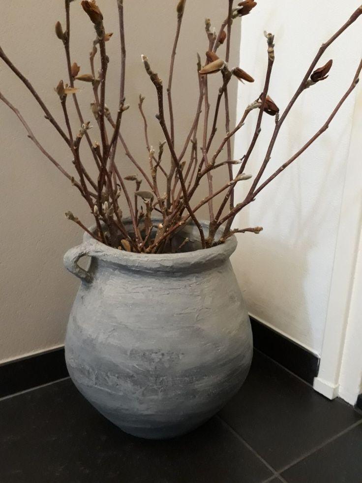 Pot bekleed met muurvuller gevuld met magnolia takken