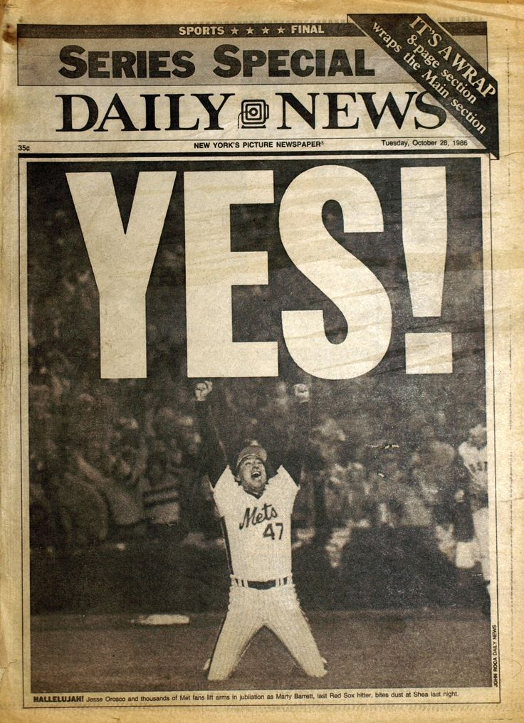 NY Daily News front page the day after the Mets won the